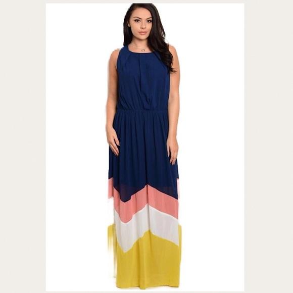 Dresses Plus Size Navy Chevron Maxi Dress 1x 2x 14 16 18 Poshmark